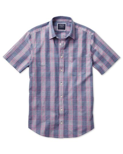 Slim fit cotton linen short sleeve blue and purple check shirt