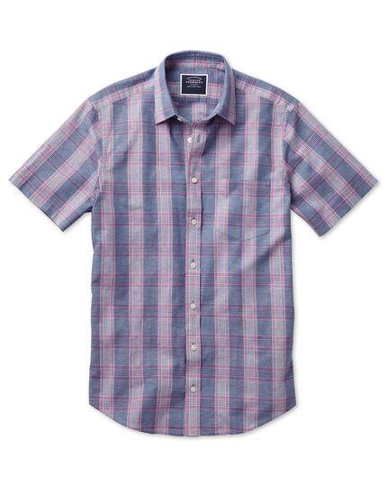 Slim fit cotton linen short sleeve blue and purple check shirt
