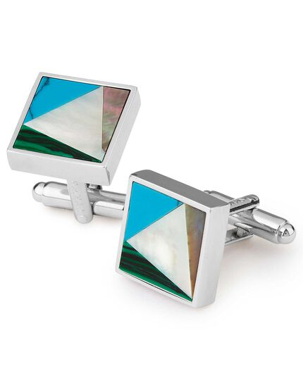 Semi precious stone mixed square metal cufflinks
