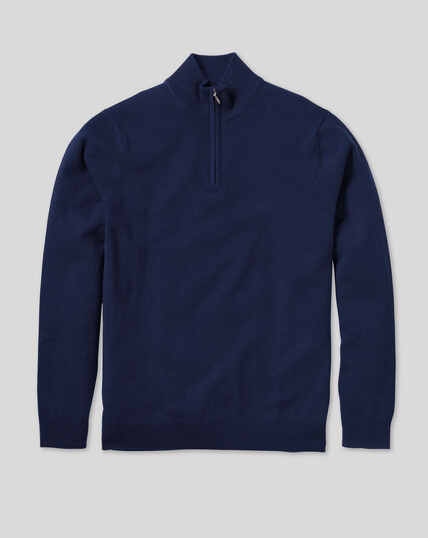 Cashmere Zip Neck Jumper - Navy