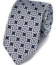 Navy and white floral classic tie