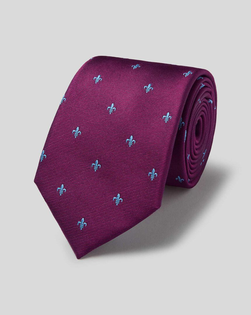 Schmutzabweisende klassische Krawatte aus Seide mit heraldischen Lilien - Burgunderrot