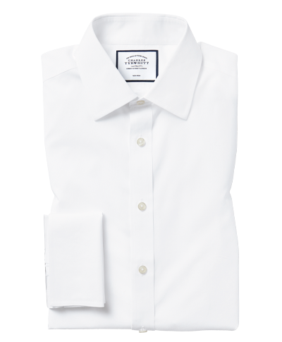 Classic fit white non-iron poplin shirt