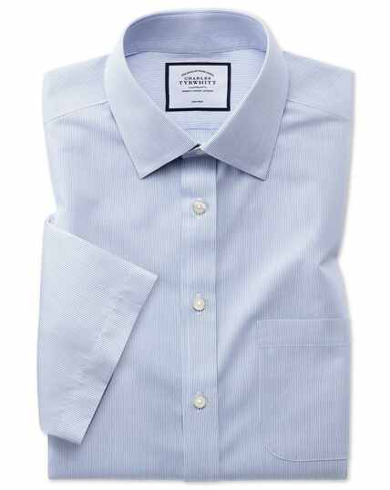 Non-Iron Tyrwhitt Cool Poplin Short Sleeve Stripe Shirt - Blue