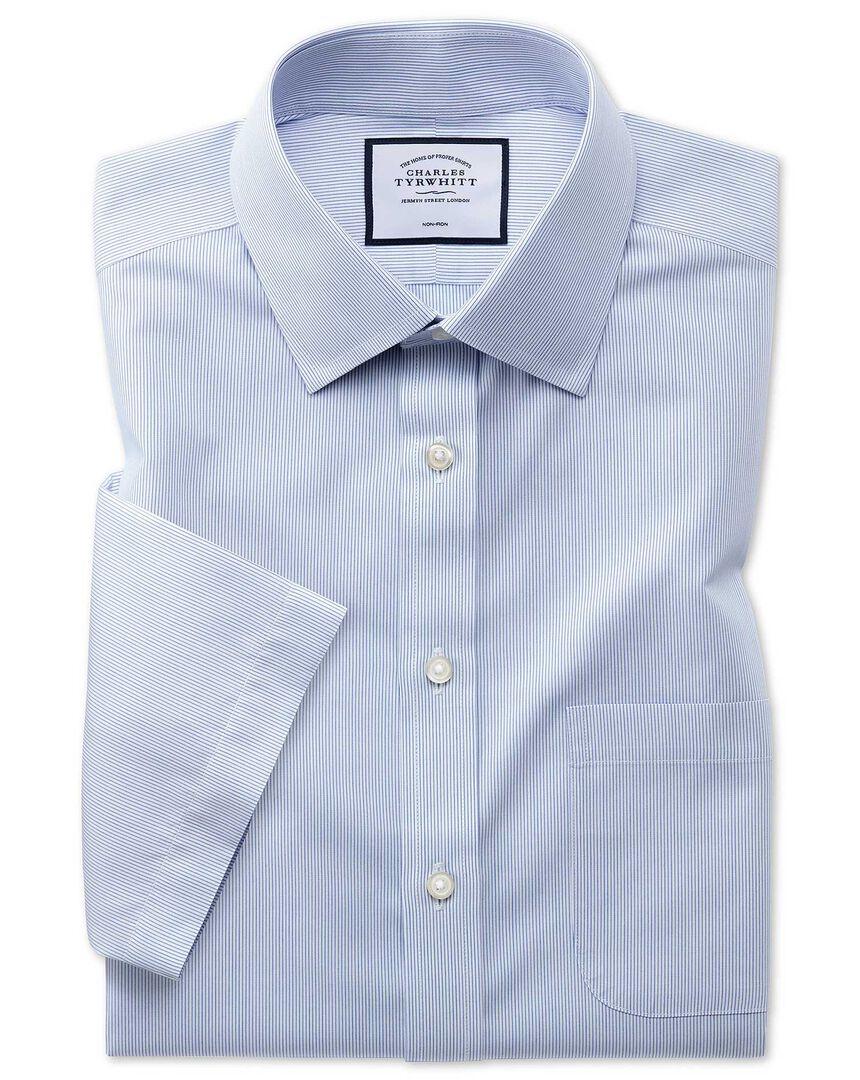 Non-Iron Tyrwhitt Cool Poplin Short Sleeve Stripe Shirt - Blue
