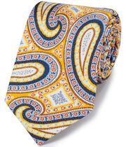Cravate or en luxueuse soie anglaise avec imprimé cachemire