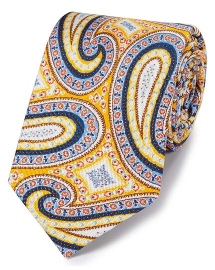 Gold multi silk paisley print English luxury tie
