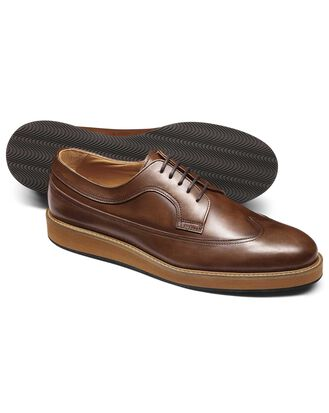 Tan lightweight winged Derby shoe