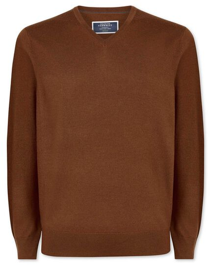 Brown merino v neck sweater