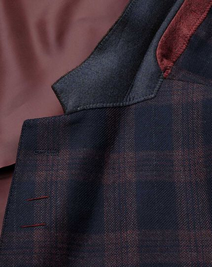 Classic fit navy check lambswool jacket
