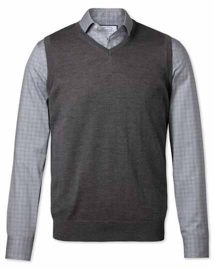 Charcoal merino wool tank jumper
