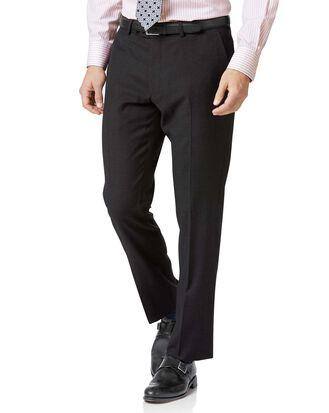 Charcoal slim fit twill business suit pants