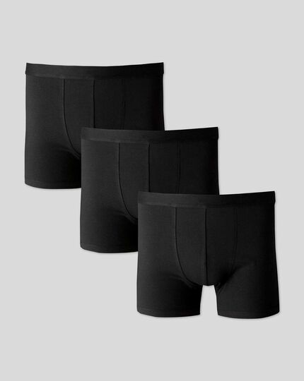 3 Pack Cotton Stretch Jersey Trunks - Black