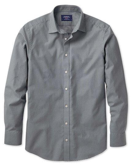 Slim fit navy and grey spot print shirt