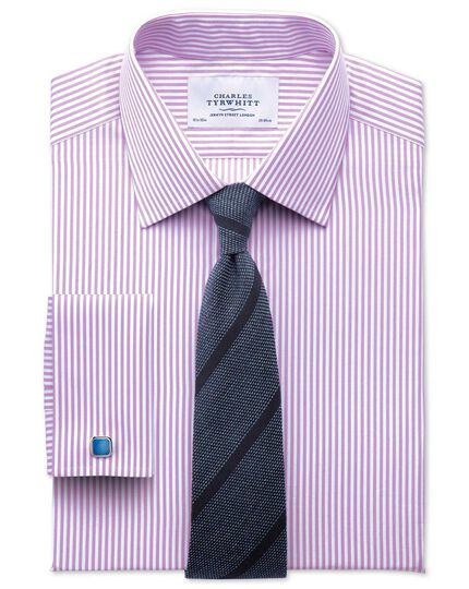 Extra slim fit bengal stripe lilac shirt