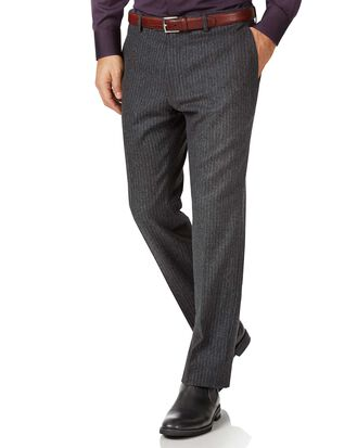 Charcoal striped slim fit wool flannel trousers