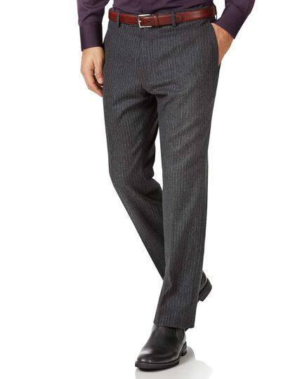 Charcoal striped slim fit wool flannel pants