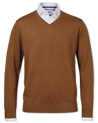 Pull brun clair en laine mérinos avec col V