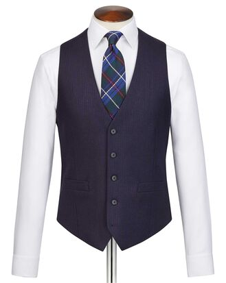 Navy stripe adjustable fit flannel business suit vest