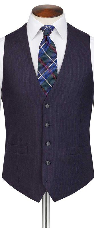 Navy stripe adjustable fit flannel business suit vest