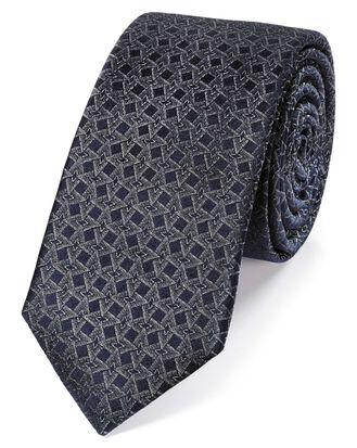 Grey silk geometric silm tie
