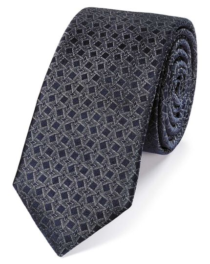 Grey silk geometric silm tie