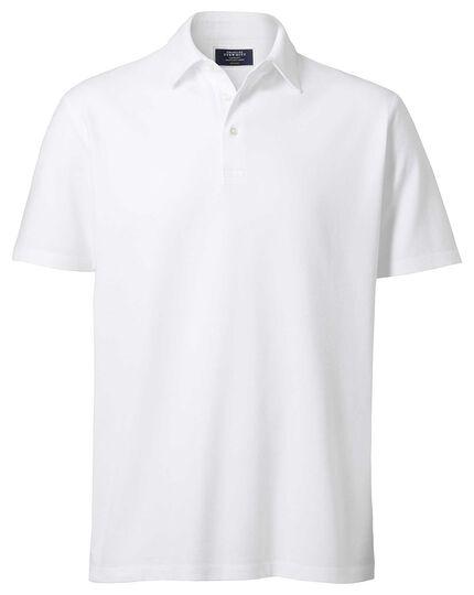 White Oxford pique polo