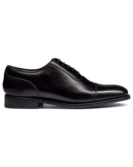Black Goodyear welted Oxford toe cap performance shoes