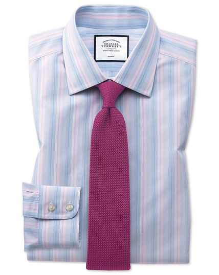 Classic fit non-iron pink and blue multi stripe shirt
