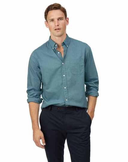 Slim fit soft washed stretch poplin green shirt