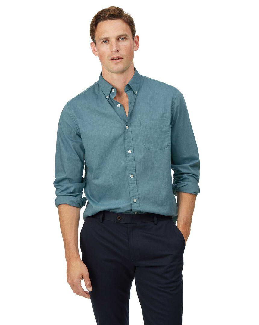 Soft Washed Stretch Poplin Shirt - Green