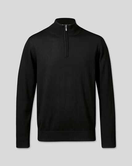 Merino Zip Neck Jumper - Black