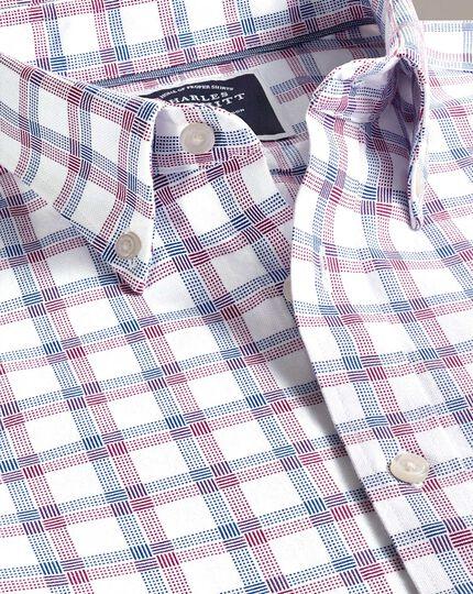 Vorgewaschenes Slim Fit Oxfordhemd mit Karomuster in Rot und Marineblau