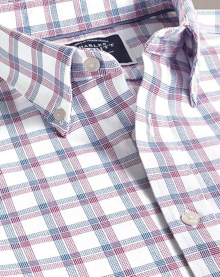 Vorgewaschenes Extra Slim Fit Oxfordhemd mit Karomuster in Rot und Marineblau
