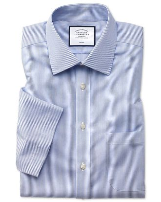 Slim fit non-iron natural cool short sleeve blue stripe shirt