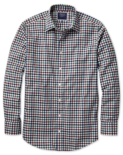 Slim fit brown multi block gingham brushed check shirt