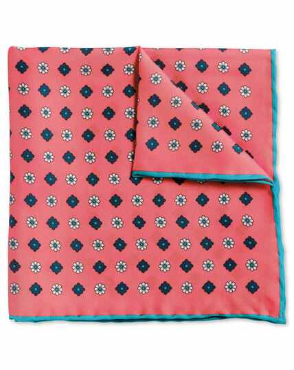 Coral medallion print pocket square