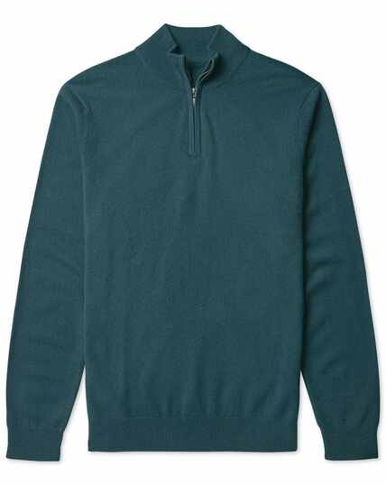 Teal cashmere zip neck jumper