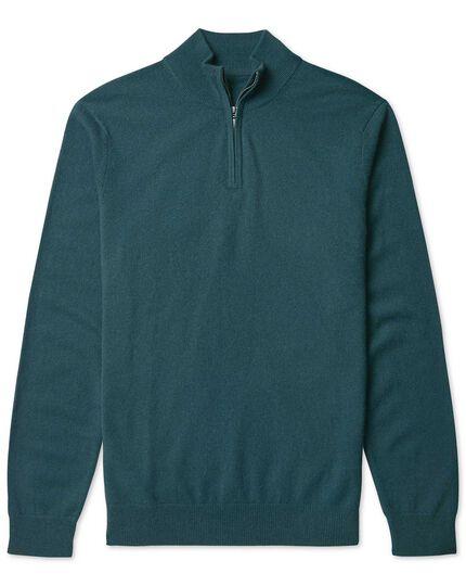 Teal cashmere zip neck jumper