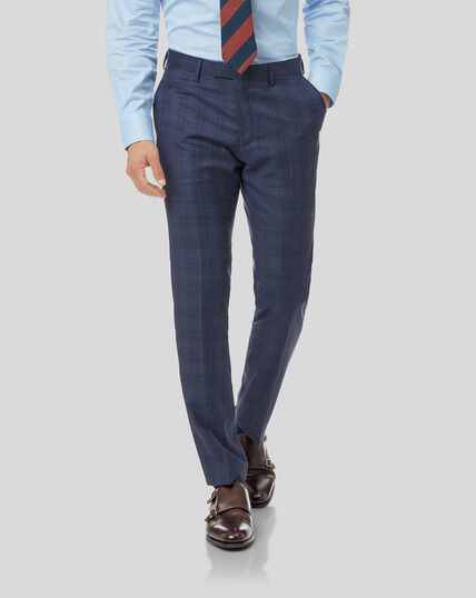 Top Drawer Check Suit Trousers - Airforce Blue