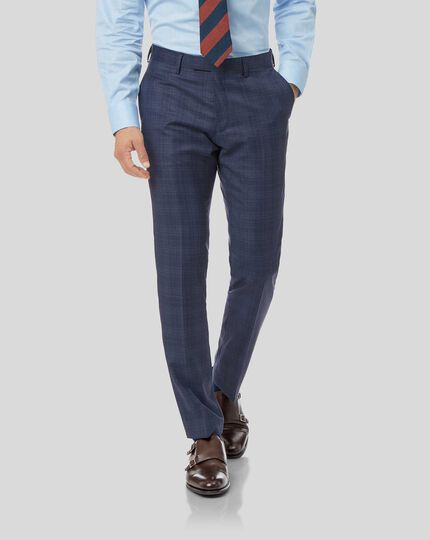 Luxury Check Suit Trousers - Airforce Blue