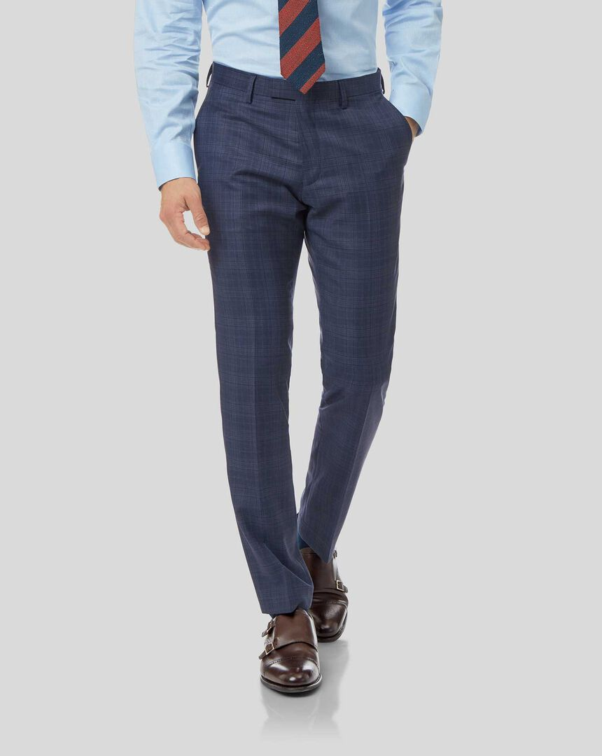 Top Drawer Check Suit Pants - Airforce Blue