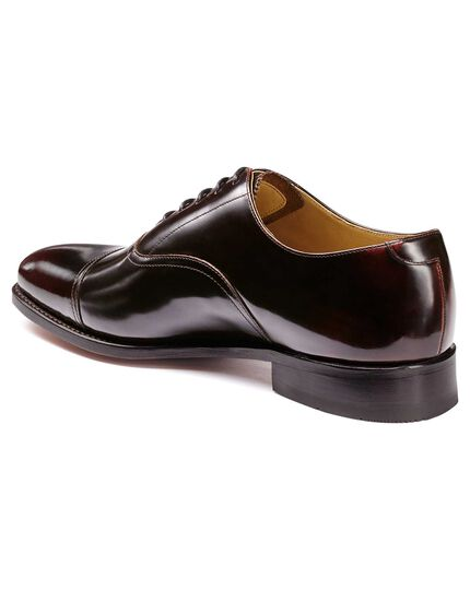 Burgundy Goodyear welted Oxford toe cap shoes