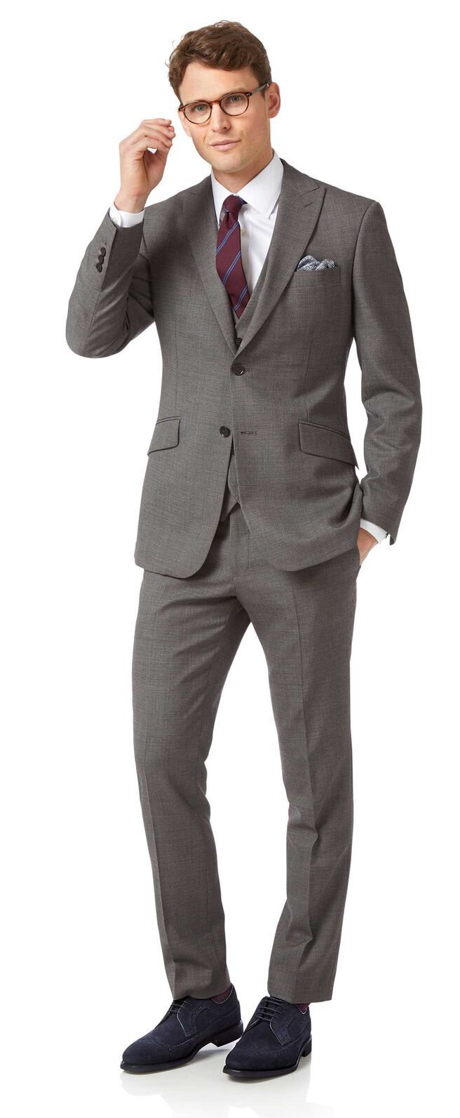 Grey slim jaspe business suit