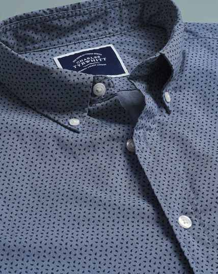 Soft Washed Stretch Poplin Paisley Shirt - Navy
