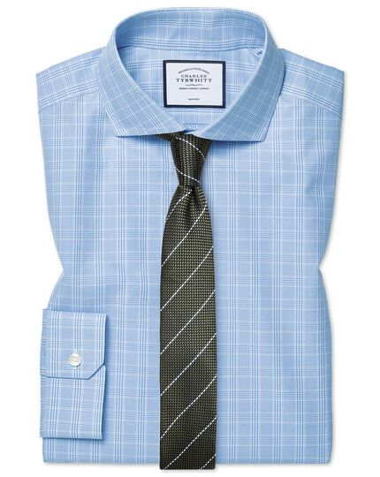 Hemelsblauw strijkvrij overhemd met Prince of Wales-ruit met cutaway-kraag, superslanke pasvorm