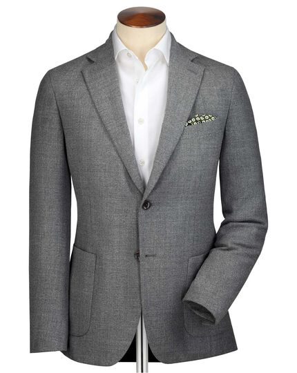 Slim fit grey wool Italian travel blazer