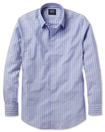 Stripe Soft Texture Shirt - Blue And White