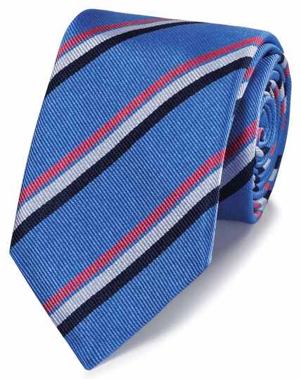 Sky blue and pink reppe stripe English luxury tie