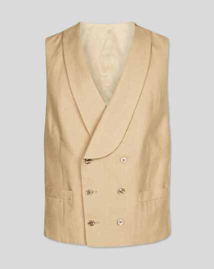 Linen Morning Suit Vest - Buff